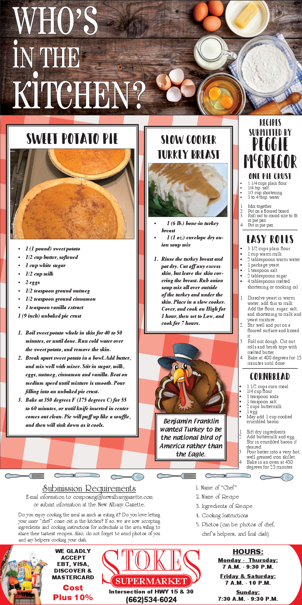 recipes submitted by peggie mcgregor in new albanay ms grocery
