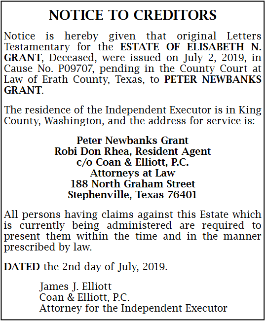 Notice For Creditors in Stephenville, TX, Attorneys & Law