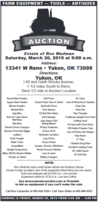 Farm Equipment Auction in Mustang, OK, Auction Services