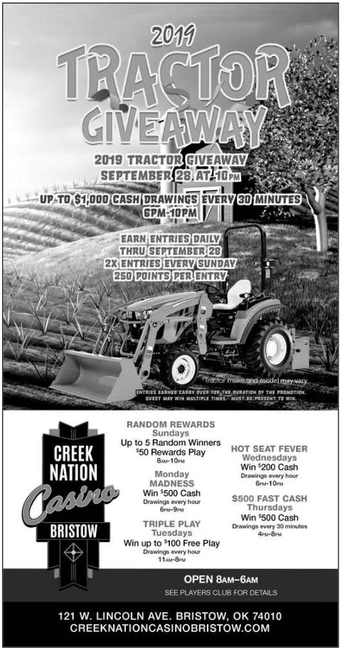 Cash Drawing In Tractor Giveaway in Bristow, OK, Arcade & Gaming