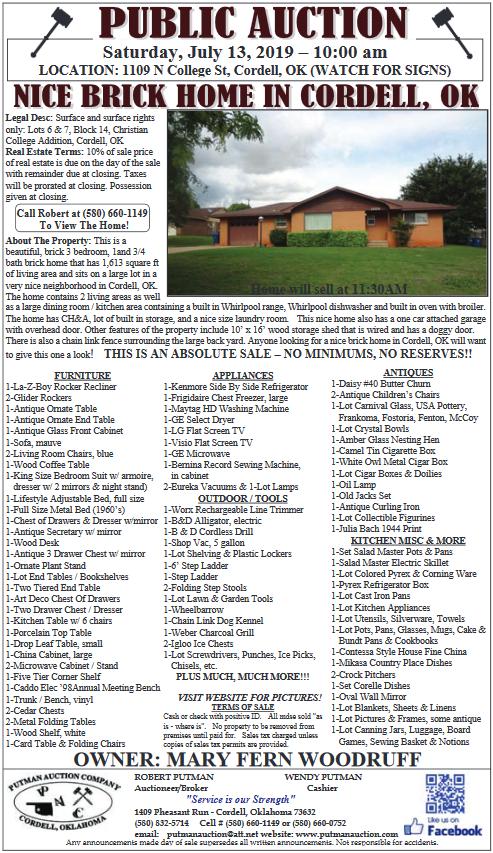 New Equipment Auction Details in Cordell, OK, Farm Equipment