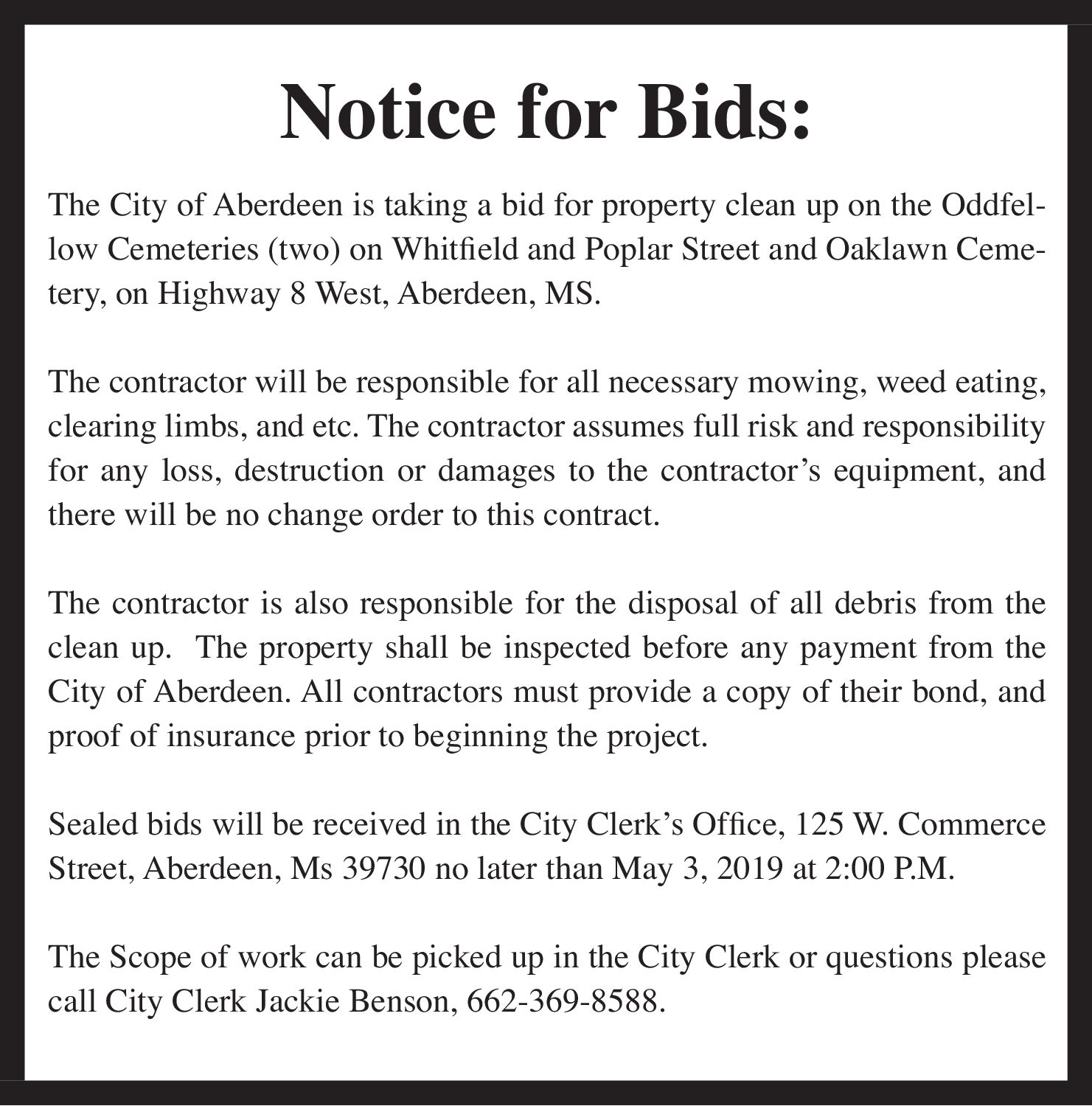 Public Notice for Bids in Aberdeen, MS, Places - City of