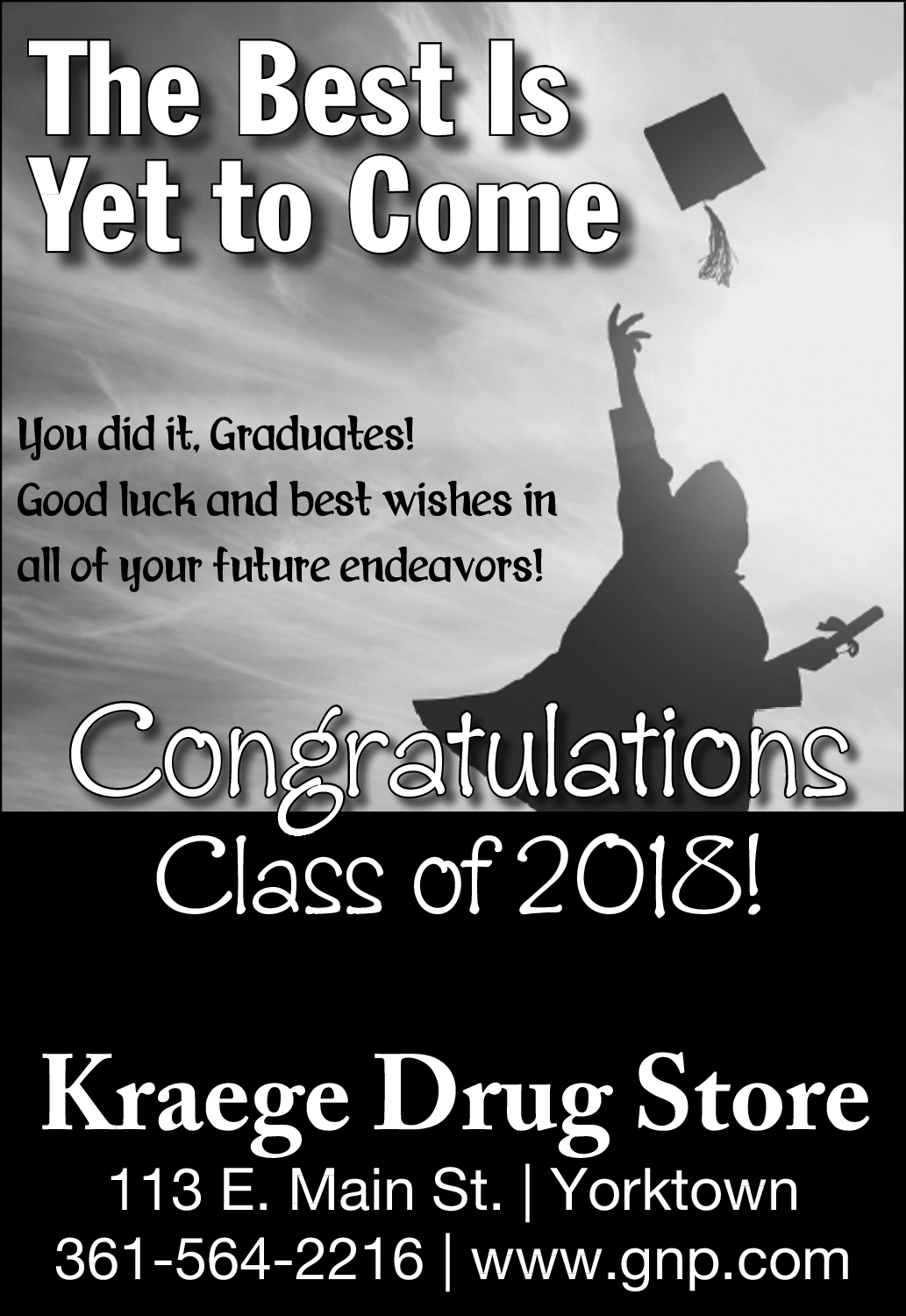 congratulations class of 2018 good luck best wishes for your