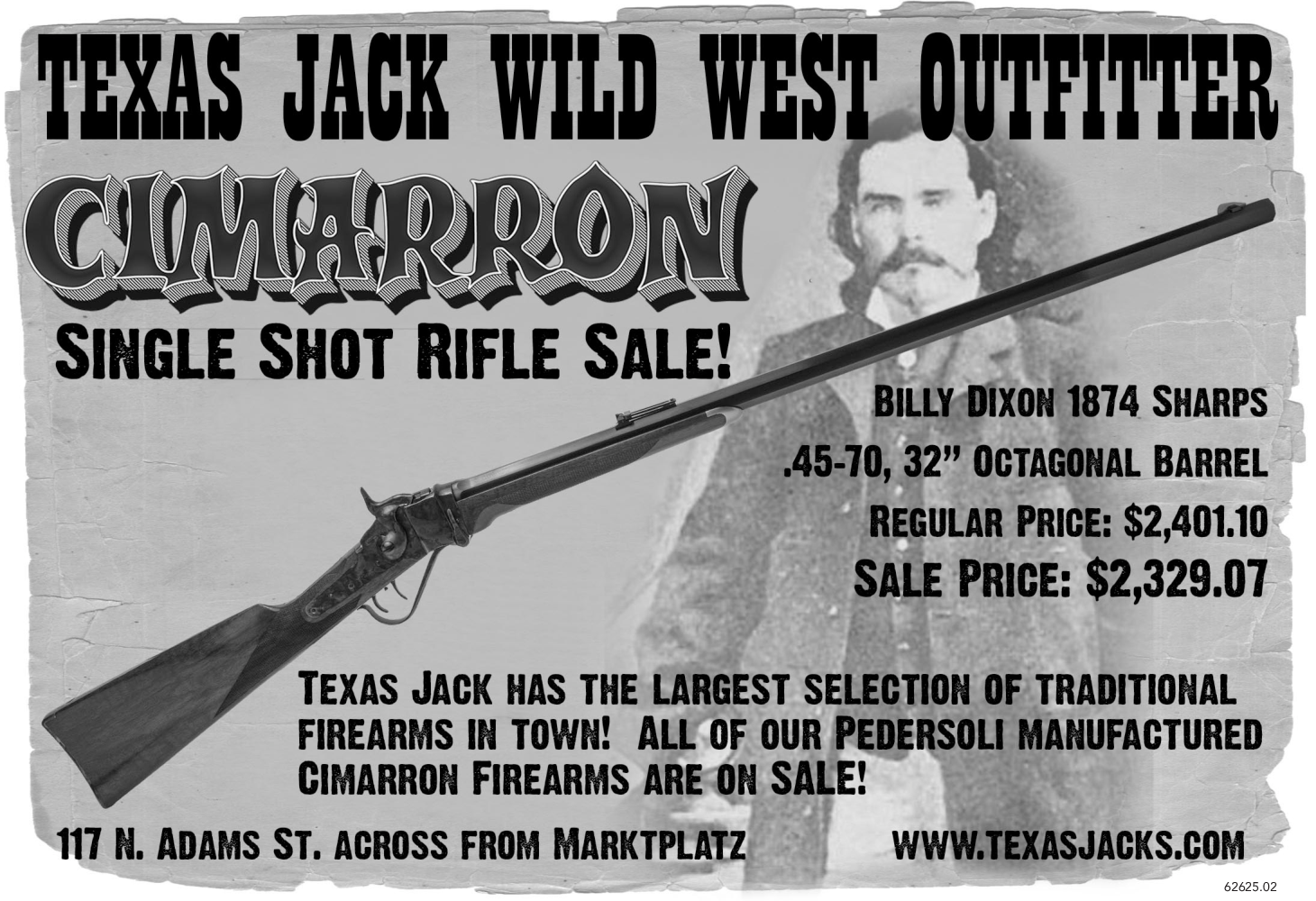 CIMARRON SINGLE SHOT RIFLE SALE in Fredericksburg, TX, Guns