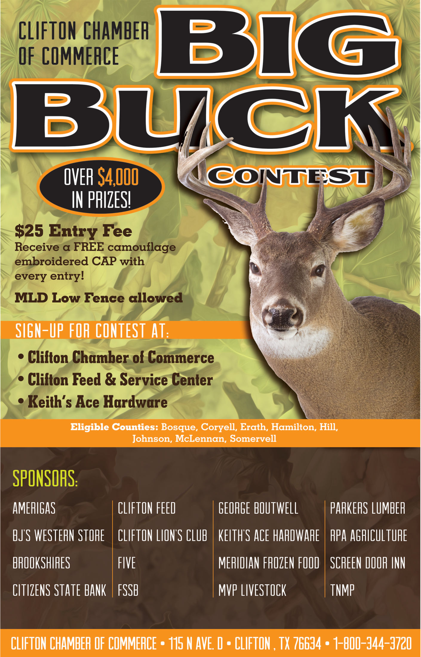 Sign Up For Buck Contest In Clifton Tx Chambers Clifton Chamber